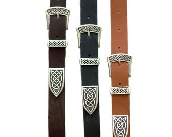 Leather Belt with Celtic ornament, Brown Leather Belt, Mens Leather Belt, Womens Leather Belt, Pewter onlay