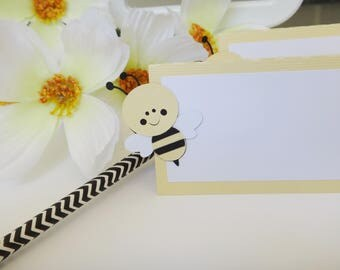 12 Yellow Bumble Bee Food Tents, Bumble Bee Baby Shower, Mom to bee baby shower,