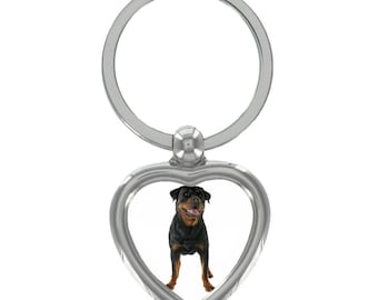 Rottweiler Image Heart Shaped Keyring in Gift Box