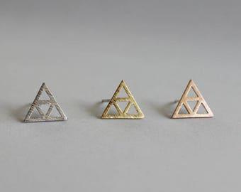 Open Triforce Stud Earrings / legend of Zelda studs, geometric jewelry, inverted triangle studs, relic stud earrings  / E0-60