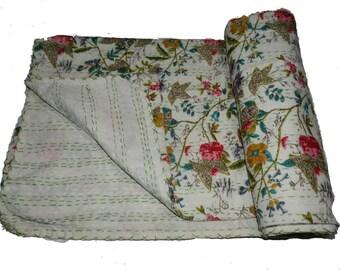 Cotton  Bird Printed Queen Kantha Quilt Hand Stitch Kantha Bedspread ,Handmade Stitch Kantha Quilt