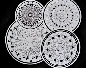 Original artworks by Adrienne Piscopo sticker pack 4 stickers erotic art mandalas psyhedelic art life drawings black and white illustrations