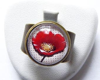 Ring adjustable poppies and red dots