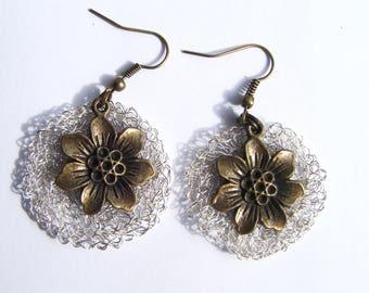 Crocheted in silver and bronze Flower Earrings