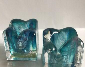 Vintage Blue Crystal Glass Candle Stick Holders