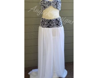 SALE 20%OFF! Black/White Chiffon Embroidered Mesh Maternity/Dress/Sweetherart Pregnancy Photo/Baby Shower/Photo Session Gown