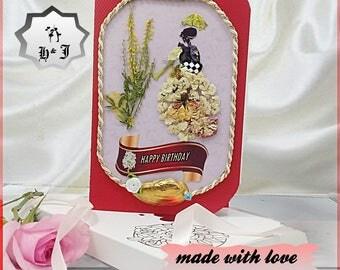 Dried flowers cards. Flower girl. Happy birthday cards. Birthday wishes. Sister birthday card. Girlfriend birthday. Mom birthday cards.