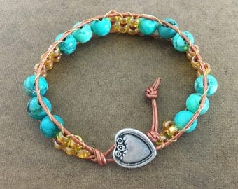 Turquoise beaded bracelet unity stress relief serenity mood healthy wrap bracelet courage kindness healthy power wholeness