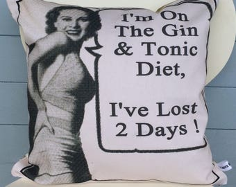 Gin and Tonic pillow - G and T cushion - im on a diet gift - Im on a gin & tonic diet cushion - Mother's Day gift - diet gift