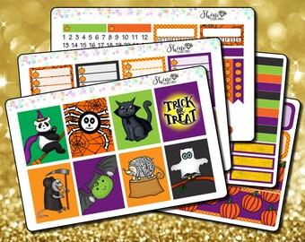 Halloween Costumed Critters - Vertical Planner Stickers Erin Condren Life Planner ECLP Stickers Pumpkin Stickers Trick or Treat Stickers