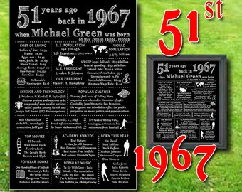 1967 - 51st Birthday Chalkboard, PERSONALIZED, Black & White, 51st Gift Poster, 51 Years Ago in 1967, Printable Digital Files (#7041)