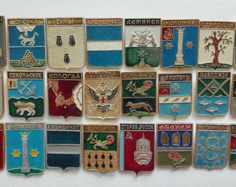 Soviet cities badges, Badges, Soviet pin badges, Soviet label pins, Pin, USSR, Vintage, Symbol of the city, City symbol, Russia, Collection