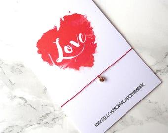 Love heart 24K gold filled bracelet, natural silk red string dainty bracelet, wedding bracelet, bridesmaid bracelet, gold filled jewelry