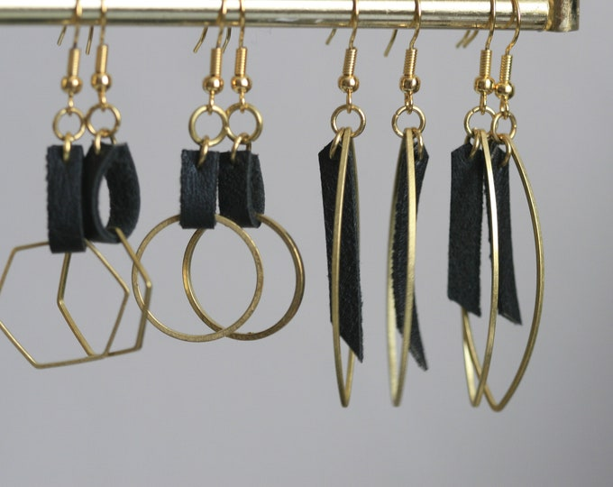 Various Geometric Brass and Black Faux Leather Earrings | Minimalist | Geometric | Gift