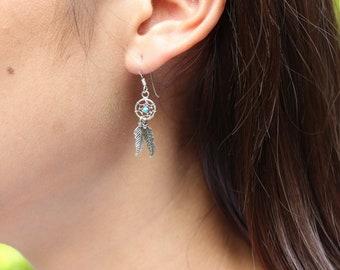 Dream Catcher Earrings, Silver Earrings, Trendy Ear Accessories,Soulful Earrings Bohemian Jewelry, Funky Earrings,Gift Earrings, (SES85)