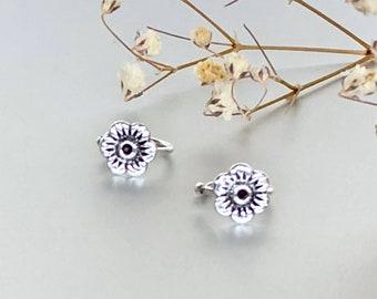 Silver ear cuffs, Flower ear cuffs, Body Jewelry, Cartilage cuffs, Bohemian Earrings, Gifts For Her, E211