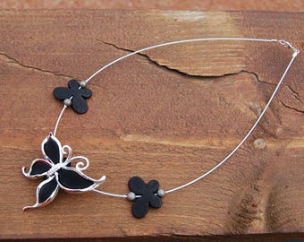 stunning black acrylic butterfly on wire wrapped necklace