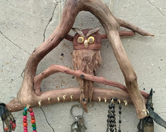 Driftwood art wall sculpture wooden owl decor woodland jewelry display organizer earrings holder wall hanger jewelry holder
