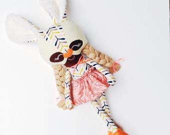 Bunny doll, happy easter present, easter basket gift, handmade rag doll, soft toy, girl doll, heirloom keepsake, imaginative play, superhero