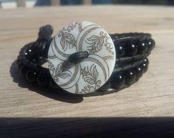 Natural Gemstone, BLACK ONYX Leather Wrap Bracelet ( Double Wrap ) / Handmade / button closure / black leather