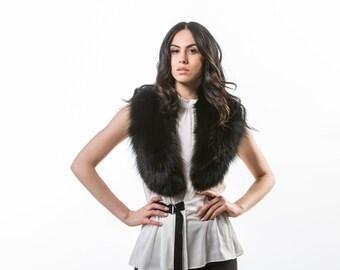 Black Fox Fur Collar ,Real Fox Fur, Neckwearing, Fur Shawl, Fur Scarf, Brown Fox Fur Scarf, Fox Fur Stole