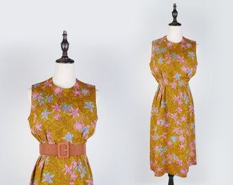 Colourful Flower Print Pleated Sleeveless Brown Vintage Women Dress Size M