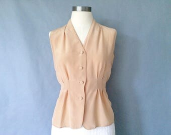 vintage silk blouse/button own blouse/ sleeveless silk shirt/ minimalist silk shirt/ secretary blouse women's size S/M
