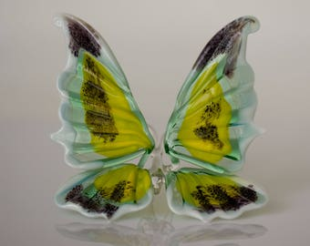 Blown Glass Butterfly Figurine Art Butterfly Insect Statuette Collectible Miniature Butterfly Sculpture