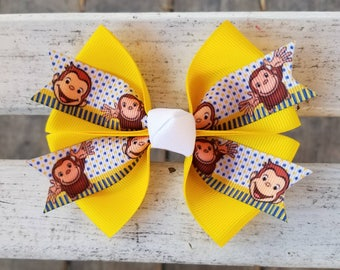 Curious George Monkey White/Blue/Yellow Hair Bow (4 inch)