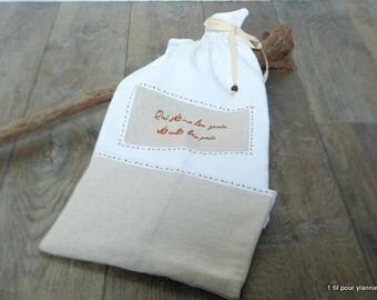 "bread bag - ""who sows wheat, harvest bread"" hand-embroidered - zero waste bread bag - 1 strand for ylannie"