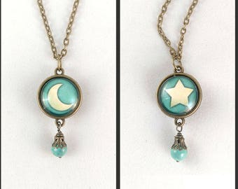 Reversible Moon And Star Pendant Necklace