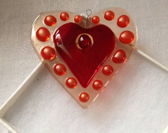 Love Heart Ornament-Glass-Hand-Made-Eclectic