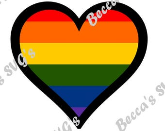 7 color/layer Gay Pride Hearat SVG