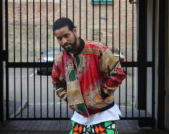 African Mens fashion - Bomber Jacket - Dashiki Bomber - Winter Jacket - Dashiki Jacket - Wax Bomber - Festival Clothing - African Jacket