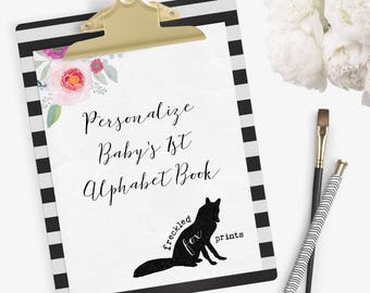 Add: Personalized Front & Back Cover of Baby's First Alphabet Book