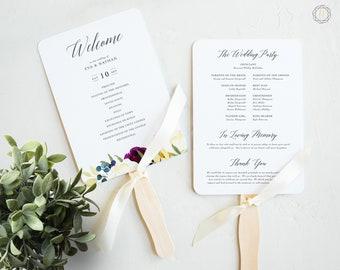 Wedding Program Fan, Wedding Program, Order of Service, Ceremony Program, Wedding Timeline, Program Timeline, Floral Wedding Program, #PNG