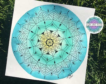ORIGINAL Watercolour Mandala