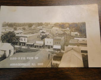 Morrisonville IL RPPC Postcard Post Card Bird's Eye View Of Morrisonville In 1908 Great Photo Photographic Image - Image Off Center Nice!