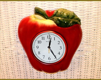 Large, Acu-Rite Red Apple, Ceramic Wall Kitchen Clock, Second Hand, Clear Glass Cover, AA Battery Operated, Vintage 1970's