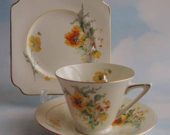 Royal Doulton Art Deco V1814 Trio, Vintage Cup Saucer & Plate Set, Yellow and Orange Poppies, Circa 1930's to 1940's, Made In England