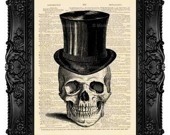 Skull Art Print , Skull in Top Hat, Skull ARTWORK, Skull GEEKERY Geek Skull Dictionary art print, Skull Dictionary print, Skull wall art 135