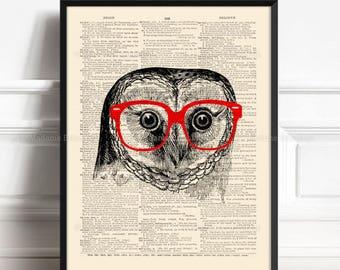 Wise Owl Wall Decor, Teen Boy Gift Poster, Cool Owl Poster, College Dorm Print, Geeky Glasses, Owl Geek, Nursery Print Owl, Wall Art 350