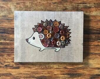 8x11 hedgehog wooden sign
