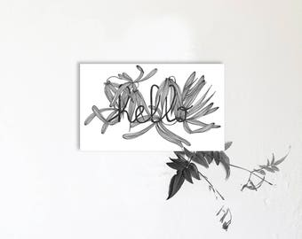 Hello - illustrated card with message - drawing - Orchid - France - fine art print limited edition - pseudo-petiole