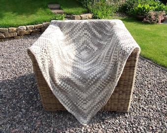 Grey & Natural Beige Pure Lambs Wool Crochet Blanket / Throw