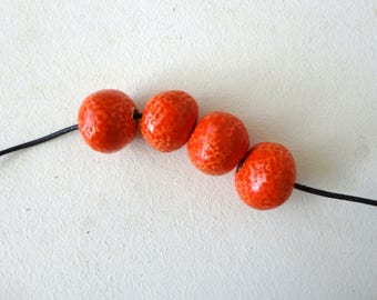 round red beads in ceramic-handmade