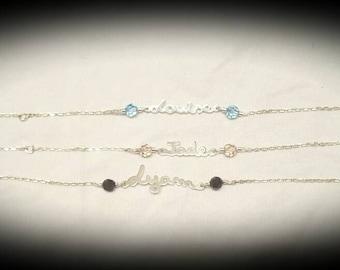 Silver personalized name bracelet and swarovski pearls