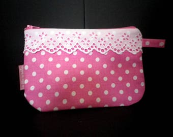 Fabric cosmetic case pink with white dots - eyelet - gift idea - home