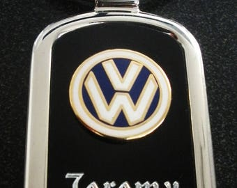 Volkswagen Black Onyx & Silver Key chain-Free Engraving