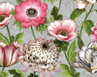 Tivoli Garden Large Grey Florals by Anne Rowan for Wilmington Prints, quilting cotton, fabric, pink flowers, by metre, by yard 68402-930